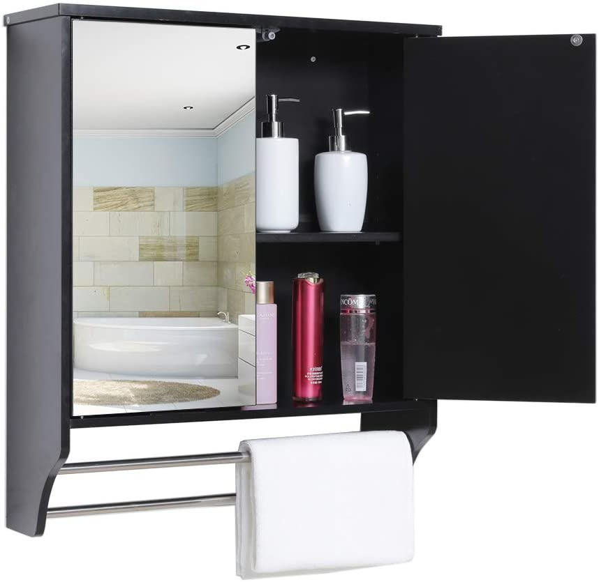 Usikey Bathroom Wall Cabinet, Wall Hanging Mirror With Storage