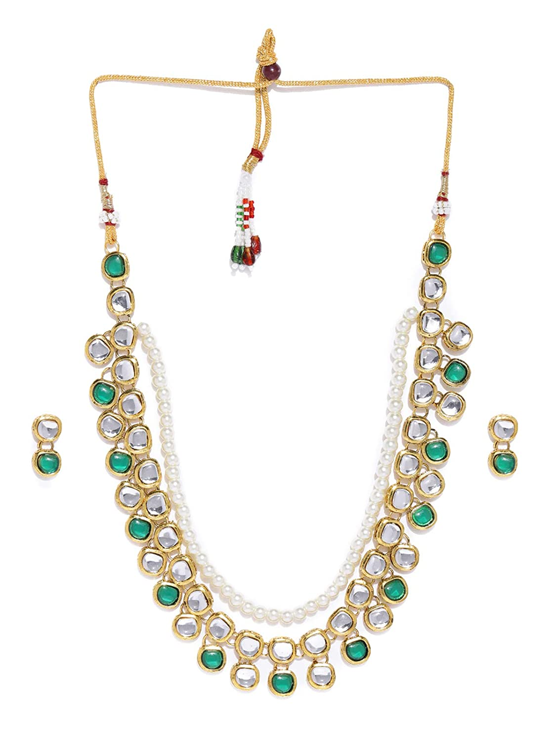 Zaveri Pearls Gold Tone Traditional Kundan & Pearls Necklace Set For Women-ZPFK8591