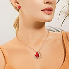 CDE 18K White/Rose Gold Plated Necklaces for Mother's Day Jewelry Gifts Heart Pendants Embellished with Crystals from Swarovski Necklace with Exquisited Gift Box