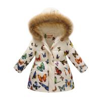 Butterfly Kids Floral Clothes Kids Jacket Winter Girls Parka Hoodie