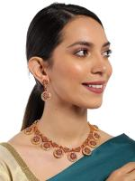 Zaveri Pearls Gold Tone Traditional Choker Necklace Set For Women-ZPFK8982