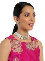 Zaveri Pearls Gold Tone Traditional Kundan And Pearl Choker Necklace Set For Women-ZPFK8860