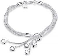 SOSUO 925 Sterling Silver Five-Line Chain with Fiv