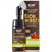 WOW Apple Cider Vinegar Exfoliating Face Wash W/Brush - Soft, Silicones Bristles - Foaming Cleanser