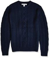 Amazon Essentials Men's Midweight Fisherman Sweater, Navy, Large